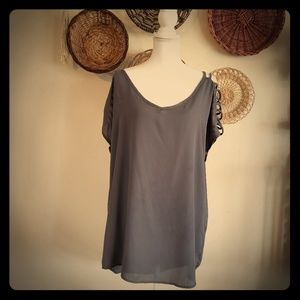 🌞$20 for 4🌞 Classic Fashion Charcoal Gray Blouse
